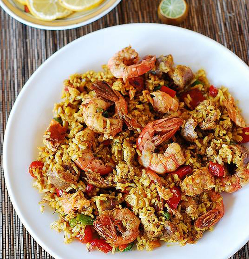 easy-paella-with-chicken-shrimp-and-sausage